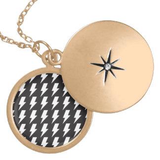 Lightning bolts bw round locket necklace