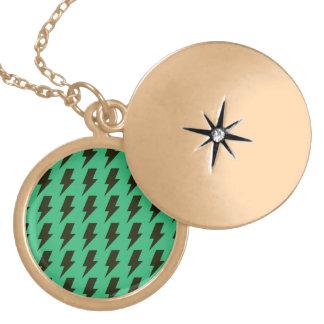Lightning bolts green black round locket necklace