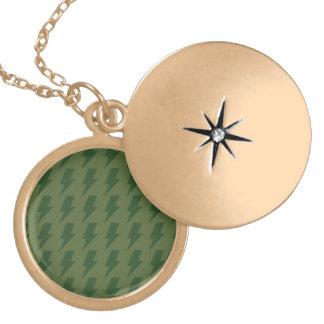 Lightning bolts greens round locket necklace