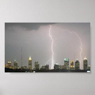 Lightning bolts hitting Atlanta skyscrapers Poster