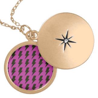 Lightning bolts magenta black round locket necklace