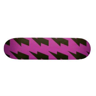 Lightning bolts magenta black skateboard