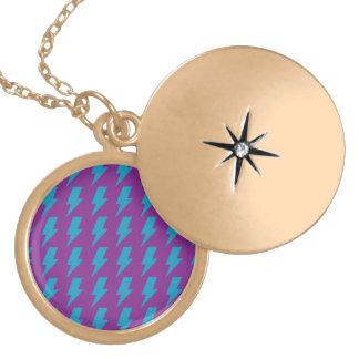 Lightning bolts magenta cyan round locket necklace