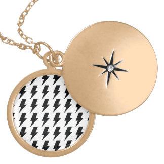 Lightning bolts round locket necklace