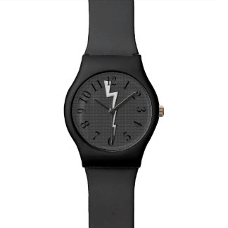 Lightning Bolts on Faux-Texture Gray Black Watch