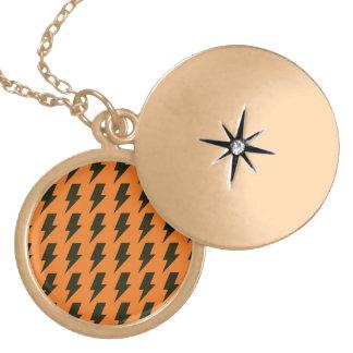 Lightning bolts orange black round locket necklace