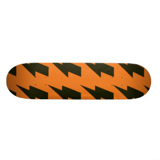 Lightning bolts orange black custom skateboard