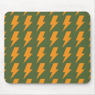 Lightning bolts orange green mousepads