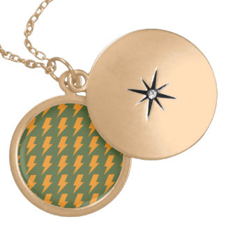 Lightning bolts orange green round locket necklace