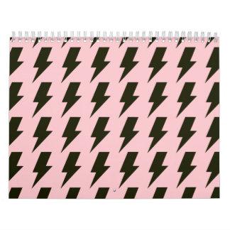 Lightning bolts pink black calendar