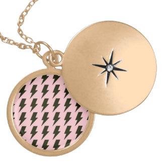Lightning bolts pink black round locket necklace