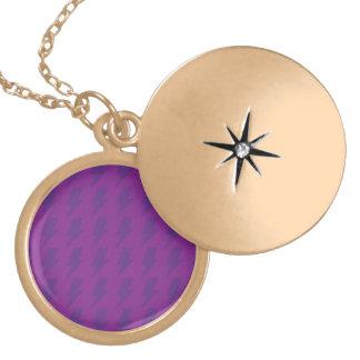 Lightning bolts purple round locket necklace