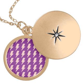 Lightning bolts purple pink round locket necklace