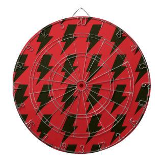 Lightning bolts red black dartboard with darts