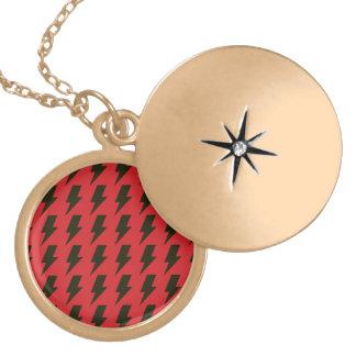 Lightning bolts red black round locket necklace