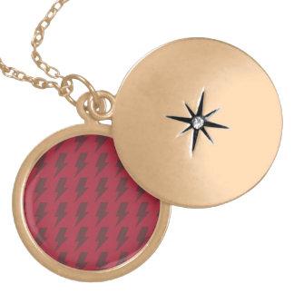 Lightning bolts reds round locket necklace