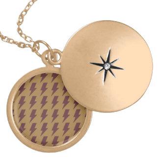 Lightning bolts tan brown round locket necklace