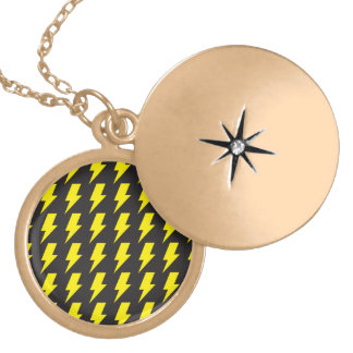 Lightning bolts yellow black round locket necklace