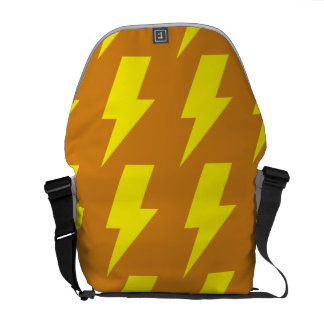 Lightning bolts yellow orange courier bag