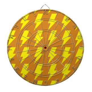 Lightning bolts yellow orange dartboard with darts