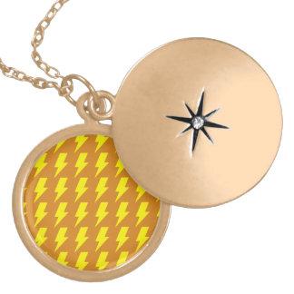 Lightning bolts yellow orange round locket necklace