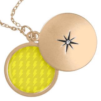 Lightning bolts yellows round locket necklace