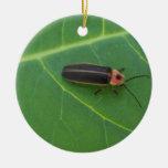 Lightning Bug on Leaf Double-Sided Ceramic Round Christmas Ornament
