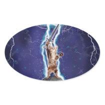 Lightning Cat Oval Sticker