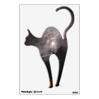 Lightning clouds Cat Wall Decal