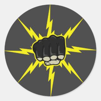 Lightning fist classic round sticker