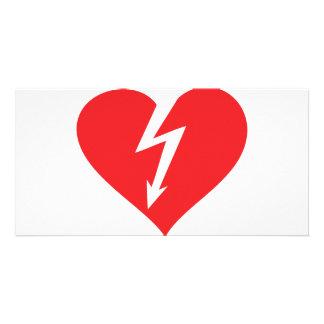 lightning heart icon custom photo card
