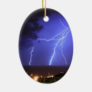 Lightning in Genoa, Italy Ceramic Ornament