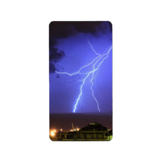 Lightning in Genoa, Italy Label