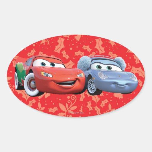 Lightning McQueen u0026 Sally Oval Sticker : Zazzle