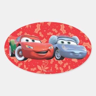 Lightning McQueen & Sally Oval Sticker