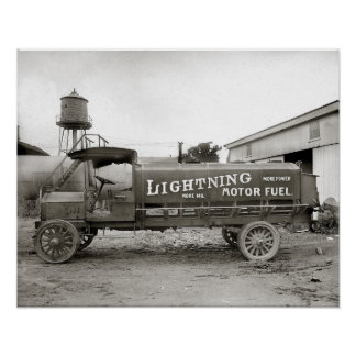 Lightning Motor Fuel Truck, 1920. Vintage Photo Poster