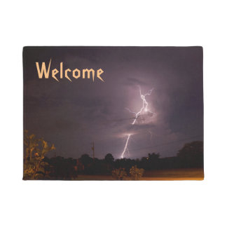 Lightning Night storm Welcome Doormat
