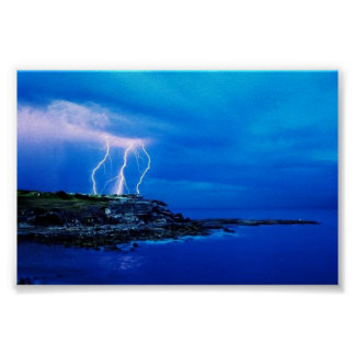 Lightning on the Coast Poster