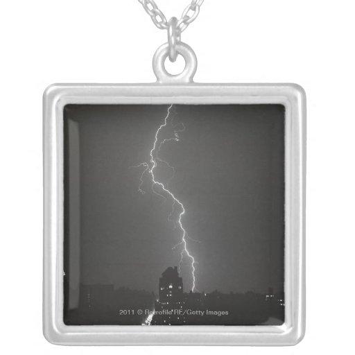 Lightning over city custom jewelry