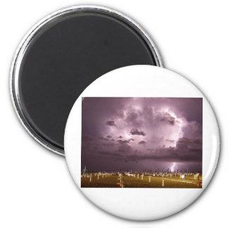 Lightning Over Miramare Di Rimini Italy 2 Inch Round Magnet