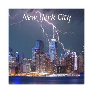 Lightning over New York City Canvas Print