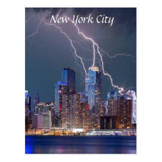 Lightning over New York City Postcard
