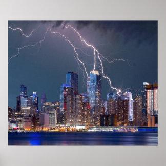 Lightning over New York City Poster