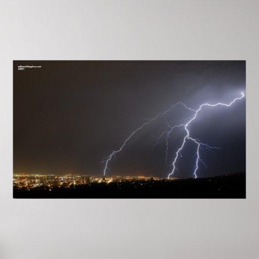 Lightning Over Salt Lake City Poster
