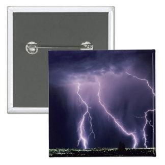 Lightning over Salt Lake Valley, Utah. 2 Inch Square Button