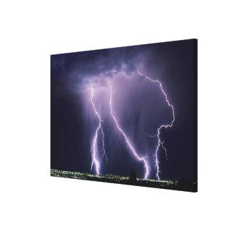 Lightning over Salt Lake Valley, Utah. Canvas Print