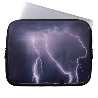 Lightning over Salt Lake Valley, Utah. Laptop Sleeves