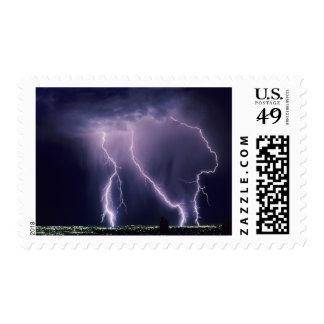 Lightning over Salt Lake Valley, Utah. Postage