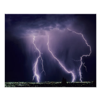 Lightning over Salt Lake Valley, Utah. Poster