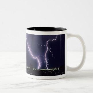Lightning over Salt Lake Valley, Utah. Two-Tone Coffee Mug